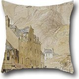 Throw Pillow Covers Of Oil Painting Horatio McCulloch - Edinburgh Castle From The Foot Of The Vennel, 1845,for Relatives,club,home Theater,couch,wedding,son 16 X 16 Inches / 40 By 40 Cm(double Sides)