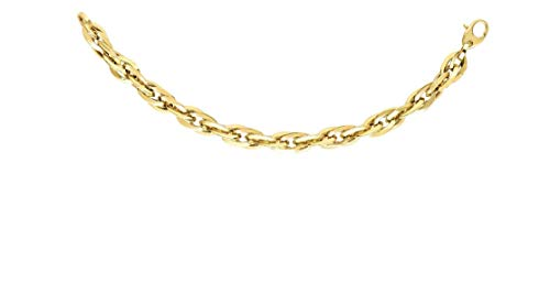 14kt Yellow Gold 7mm Shiny Double Oval Link Fancy Necklace with Lobster Clasp ()