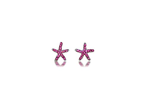 Hypoallergenic Surgical Steel Rhodium Plated Star Fish Earrings With Pink Cubic Zirconia Stones ()