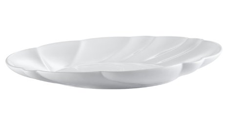 CAC China MX-SC20-P1 Porcelain Oval Scallop Shape Platter, 20 by 14-1/2 by 3-Inch, Super White, Box of 1
