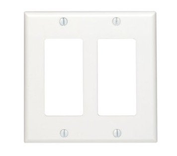 Leviton 80409-NW 2-Gang Decora/GFCI Device Wallplate, Standard Size, White 2 Gang Switch Wall Plates