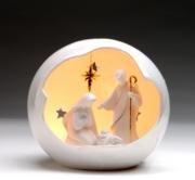 8.25 Inch Porcelain Medium Light Up Globe Holy Family Scene Ornament