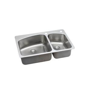 Elkay HD523637 Innermost Perfect Drain Dual Mount 33x22x8 2-Hole Double Bowl Kitchen Sink Stainless Steel by Elkay by Elkay