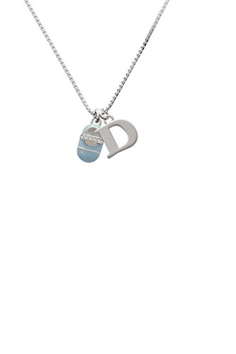 Light Blue Baby Shoe with Crystal Strap - Capital -D- Initial Necklace