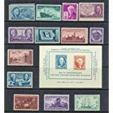 (Complete set of US Commemorative Stamps issued in 1946 and 1947 Mint, Never-hinged Merchant Marines, Iowa Centennial, Tennessee, Thomas Edison, Utah, USS Frigate Constitution, Everglades, Doctors, and more)