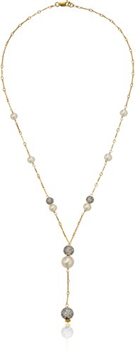 Gold Over Silver Bar Chain Necklace with Pave Cubic Zirconia and White Cultured Freshwater Pearl Stations Y-Shaped Necklace, 18'' by Amazon Collection