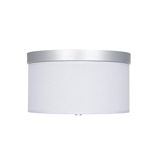 Ravenna Home Classic Linen Fabric Flushmount Ceiling Pendant Light Fixture with 2 LED Light Bulbs – 13 x 13 x 7.5 Inches, Silver