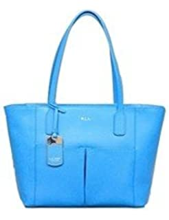 Ralph Lauren Newbury Leather Pocket Shopper Tote Purse French Blue