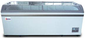 "OMCAN 37815 79"" COMMERCIAL CURVE GLASS NOVELTY ICE CREAM FREEZER CHEST"