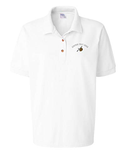 red Baseball Bat, Ball & Glove Women Adult Button-End Spread Short Sleeve Cotton Polo Shirt Golf Shirt - White, Medium (Personalized Adult Wood Baseball Bat)
