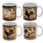 (Set of Four Kim Poloson Sakura Retro Rooster Stoneware Mugs)