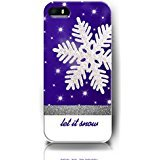 iPhone 5 Case,iPhone 5S Cover Christmas Gift, UKASE Let It Snow - Big White Snowflakefor Apple Phone 5 5S