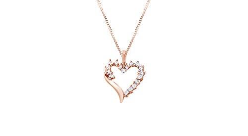 Jewel Zone US Natural Diamond Shadow Heart Pendant 10k Rose Gold (1/10 cttw)