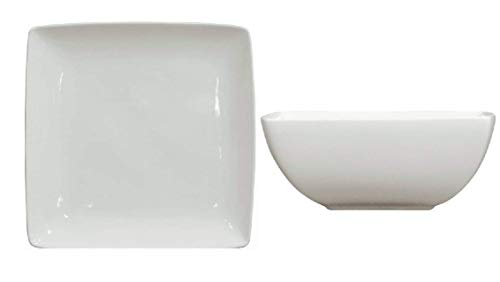 (Better Homes and Gardens Coupe Square Dinner Plates in White, Set of 6 bundle with Better Homes and Gardens Loden White Square Bowls, Set of 6)