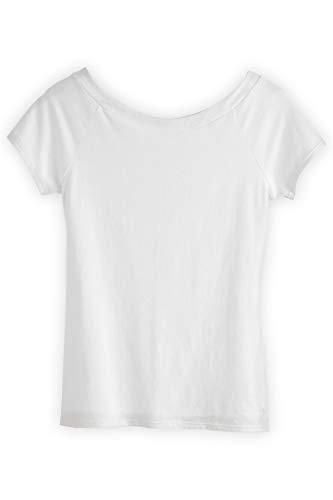(Fair Indigo Fair Trade Organic Ballet Neck Tee (XL, White))