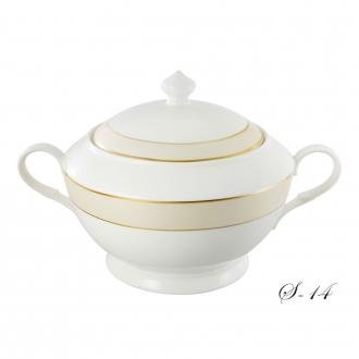 (Lorenzo Import La Luna Collection Bone China Souptureen with Lid, Valentina Pattern by Lorren Home Trends,)