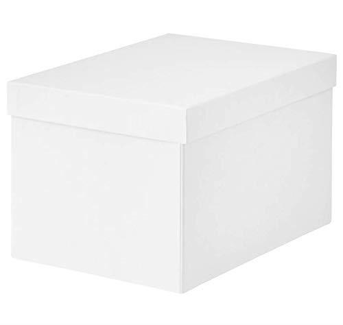 IKEA TJENA Foldable Storage Box with Lid/Office, Storage, Supplies, Organization, Small Parts (2, 7 x 9.75 x 6 White) (Tjena Storage Box)