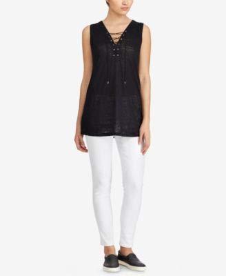 Ralph Lauren $69 Womens New 1036 Black Lace-up Sleeveless Top XL B+B