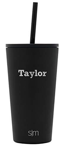 Simple Modern Personalized Gift Tumbler Custom, Classic 16oz - Straw & Flip Lid, Midnight Black