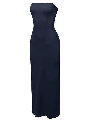 Awesome21 Solid Tube Long Maxi Dress Navy S ()