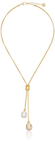 - Majorica Vermeil 2/14mm Champagne and White Baroque Pearls on Love Knot Lariat Pendant Necklace