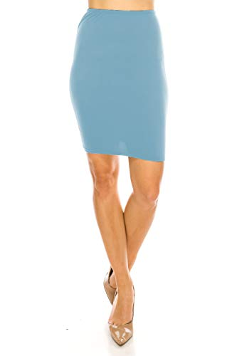 Women's Midi Long Pencil Straight Skirt Solid & Floral Maxi Casual, Office, Dressy Bodycon (Small, Denim Mini 20