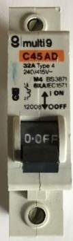 Merlin Gerin C45AD 32A MCB 12008 Type 4 M4 32 Amp circuit breaker