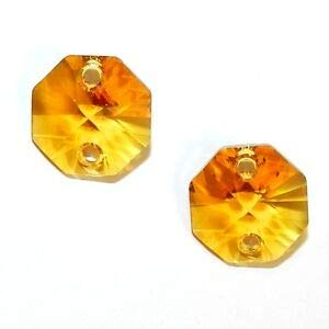 (Steven_store SCOX145 Topaz Orange 14mm Faceted 2-Hole Octagon Link Swarovski Crystal Bead 2pc Making Beading Beaded Necklaces Yoga Bracelets )