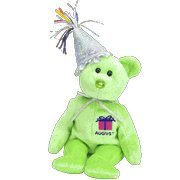 TY Beanie Baby - August the Teddy Birthday Bear (w/ hat)