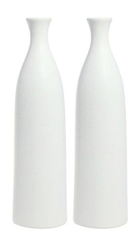 JustNile Modern Exquisite Ceramic Flower Vase- Set of 2, Whi