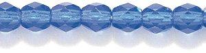 Preciosa Czech 4-mm Fire-Polished Glass Bead, Faceted Round, Transparent Medium Sapphire, 300/pack