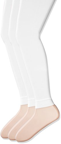 Jacques Moret Big Girls' Footless Tight Single and Multipack, White, Medium