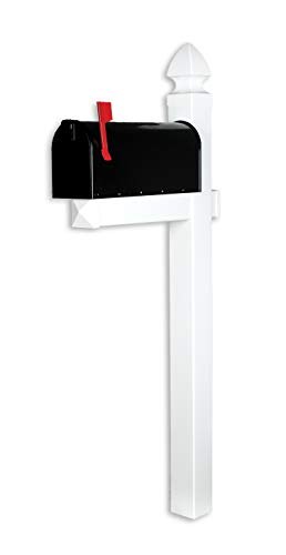 (4EVER The Richmond Vinyl/PVC Mailbox Post No Dig System - White (Includes Mailbox))