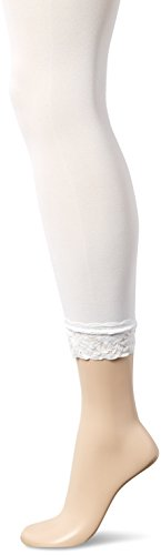 No Nonsense Women's Super Opaque Capri Tight With Lace Trim Sockshosiery, -White, - Top Opaque Lace