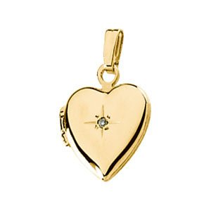 Childrens 14k Yellow Gold Diamond Heart Locket (.005 Ct, GI Color, I3 Clarity) by The Men's Jewelry Store (for HER)
