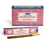 Chi-City Mall Satya Nag Champa Sacred Ritual Incense Sticks | Signature Fragrance | Net Wt: 15g x 12 boxes = 180g | Exclusively Made in India | Export Quality | Handrolled Non-Toxic Incense by Chi-City Mall