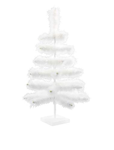 Real Bird Feather White Christmas Tree White Goose Feather Branches Wood Base Stand Included Wedding Holiday Easter Centerpiece Home Display Decor - 24IN - 2FT - Christmas Feather Goose Trees