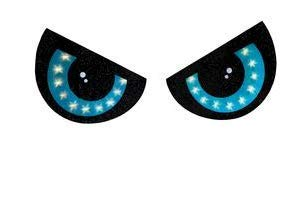 LIGHTED 2 PIECE EYE SET HALLOWEEN DECORATION BLUE EYES WINDOW LIGHTS INDOOR OUTDOOR HANGING WITH SUCTION CUPS -
