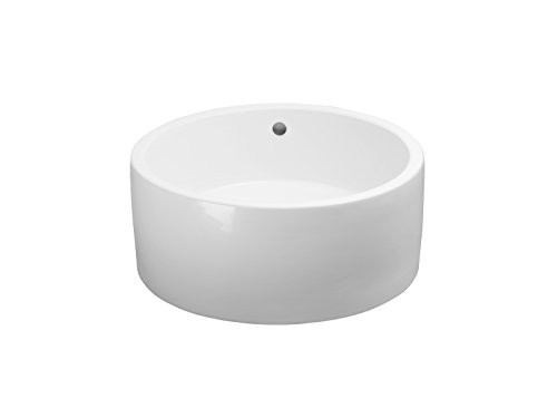 Ronbow Ceramic Sink Top - RONBOW Cask 17 Inch Round Ceramic Vessel Bathroom Sink in White 200108-WH
