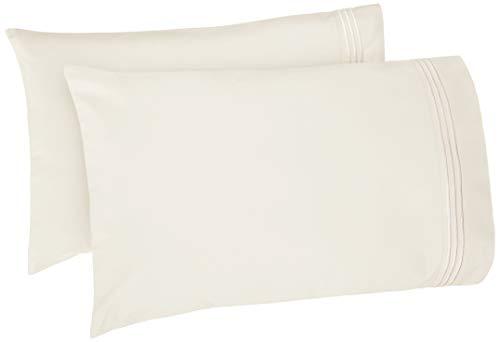 AmazonBasics Premium Soft, Easy-Wash Microfiber Embroidered Hotel Stitch Pillowcase Set - Standard, Off White