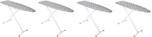 Homz Contour Steel Top Ironing Board, Grey & White Filigree Cover (4-(Pack))