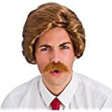 Mens Brown 70's Retro Newsreader Funny Guy Wig and Moustache by Wicked Wicked