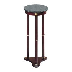 Top Pedestal Marble - Pedestal Plant Stand Marble Top Solid Wood Flower Home Decor Indoor Furniture NEW