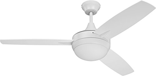 (Craftmade 3 Blade Ceiling Fan White with Dimmable LED Light and Wall Control TG52W3 Targas 52 Inch)