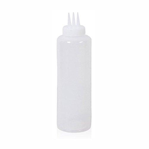 (3 Hole Sauce Condiment Bottles Squeeze Dispenser Ketchup Salad Cruet Bin Oil Vinegar Bottle Kitchen Accessory (White 14oz - 400ml))