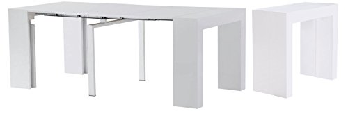 (MiniMax Decor Extendable Space Saving Modern White Gloss Dining Table, Transforms From a Console Table or Desk to a Large Dining Table That Seats Up to Twelve,)