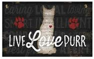 Live Love Purr, Hanging Funny Wall Signs, Cat Lady Pet Lover, Vintage Farmhouse Home Decor, Wooden Wall Art Kitten Sign, Cats, Cute Rustic Decorative Plaque