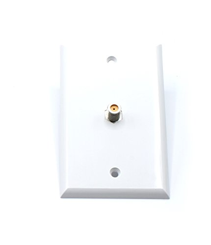White Video Wall Jack for Coax Cable F Type Coaxial Wallplate (Wall Plate) – 3 GHz Coupler approved for Comcast, DIRECTV, Dish Network, and Antennas (4 Pack)