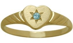 Topaz Baby Heart Ring - 14 Karat Yellow Gold Genuine Blue Topaz Heart Solitaire Baby Ring - SIZE 4