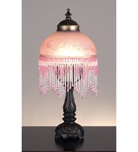 "Meyda Lighting 14966 6"" Fringed Globe Pink & Base"